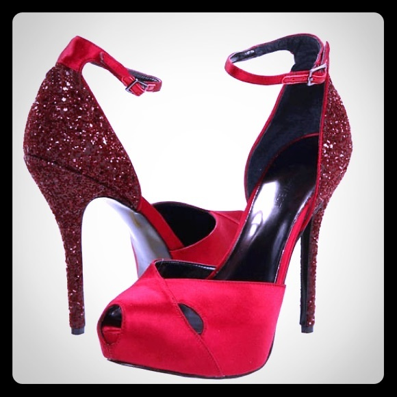 "Nine West ""Nathania"" red satin and glitter pumps"